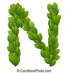 alfabeto, folhas, verde, carta n