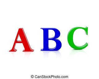 alfabeto, letras, três