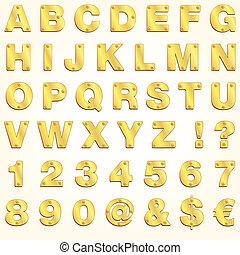 alfabeto, ouro, vetorial, dourado, letra