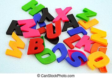 alfabeto, pedaços, aprendizagem