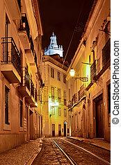 alfama, lisboa, quarto, portugal, noturna