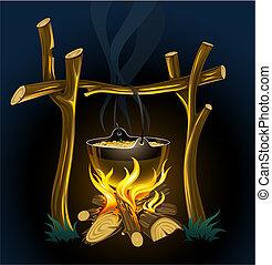 alimento, chaleira, noite, campfire, touristic