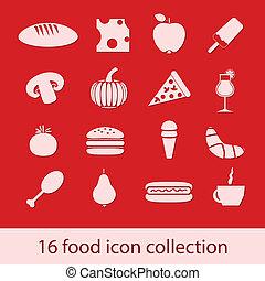 alimento, cobrança, ícones