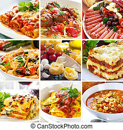 alimento, colagem, italiano