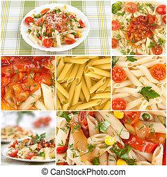 alimento, colagem, italiano, pasta.