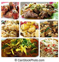 alimento, colagem, tailandês