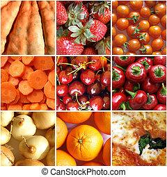 alimento, colagem, vermelho