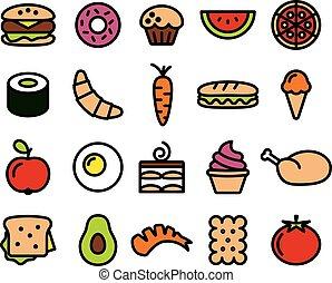 alimento, colorido, cobrança, ícones