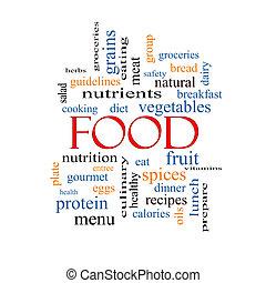 alimento, conceito, palavra, nuvem