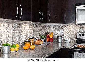 alimento, countertop, contemporâneo, cozinha, ingredientes