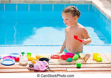 alimento, criança, brinquedos, menina, toddler, jogando pool, natação