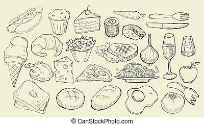 alimento, desenhado, cobrança