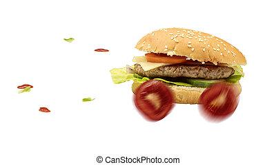 alimento, entregado, hambúrguer, rapidamente, rapidamente