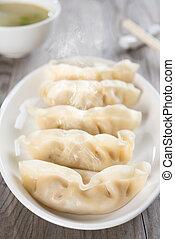 alimento, fresco, dumplings, chinês, asiático