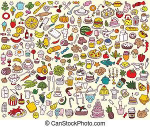 alimento, grande, cobrança, cozinha
