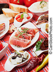 alimento, mediterrâneo, aperitivo