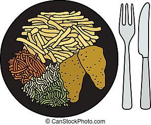 alimento, prato, pretas