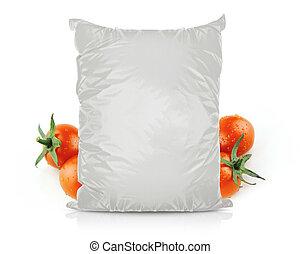 alimento, saco, branca, folha, em branco