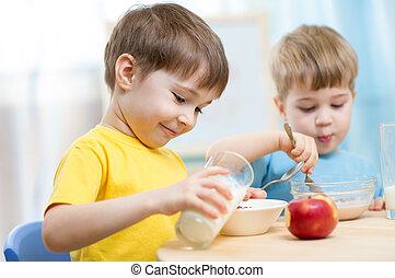 alimento saudável, comer, crianças, lar