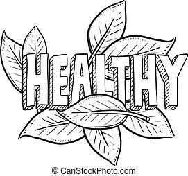alimento saudável, esboço