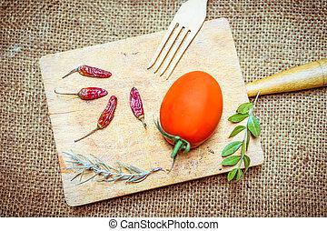 alimento, tábua madeira, ingredientes