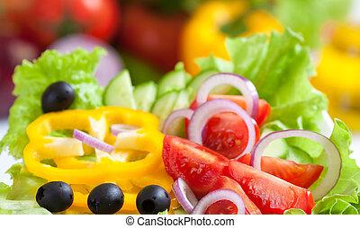 alimento, vegetal, fresco, salada, saudável