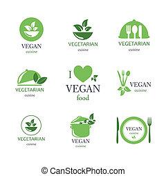 alimento, vegetariano, vetorial, emblemas, vegan