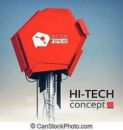 alta tecnologia, producao, conceito, desenho