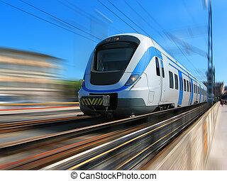 alta velocidade, movimento, trem, borrão