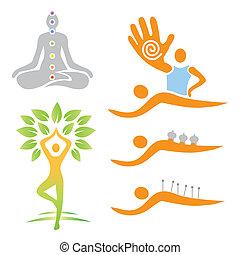 alternativa, medi, ioga, massagem, ícones