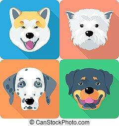 altiplano, cão, akita, oeste, rottweiler, ícone, branca, inu, desenho, terrier, dalmatian, apartamento