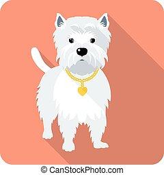 altiplano, cão, oeste, ícone, branca, desenho, terrier, apartamento