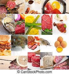alto, alimento, proteína, colagem, cobrança