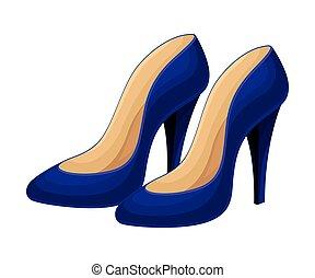 alto, azul, par, isolado, sapatos, vetorial, ilustração, heeled, fundo branco