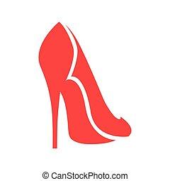 alto, branca, sapato, calcanhar, símbolo, vermelho