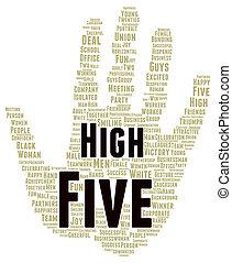 alto cinco, forma, palavra, nuvem