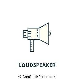 alto-falante, linear, conceito, símbolo, ilustração, sinal, vetorial, ícone, linha, esboço