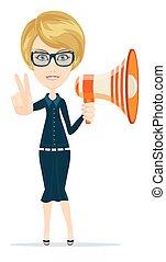 alto-falante, mostrando, chifre, negociador, mensageiro, vitória, femininas, sinal