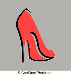alto, fundo, sapato, calcanhar, símbolo, cinzento, vermelho