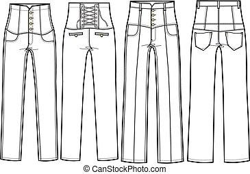 alto, jeans esconderijos, cintura