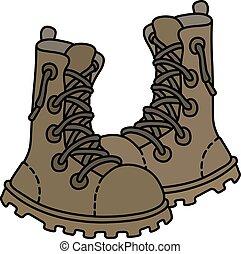 alto, militar, areia, sapatos