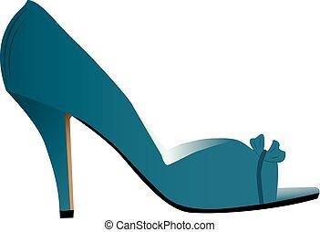alto, mulher, heeled, sapato