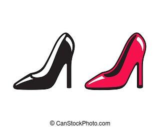 alto, pretas, calcanhar, vermelho, sapato