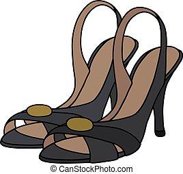 alto, pretas, sapatos, calcanhar