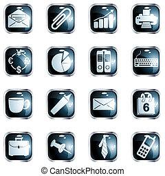 alto, quadrado, escritório, lustro, botões, pretas