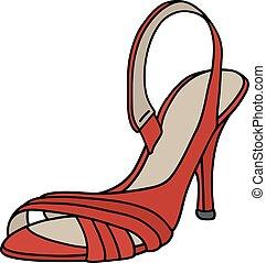 alto, sapato, calcanhar, vermelho