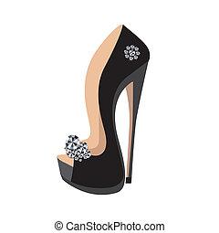 alto, sapatos, calcanhar, luxo