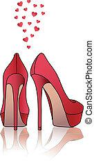 alto, sapatos, vetorial, vermelho, calcanhar