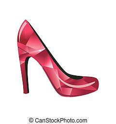 alto, vermelho, calcanhar, sapato