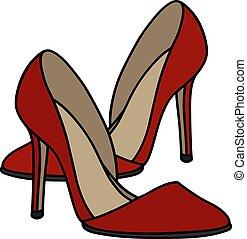alto, vermelho, calcanhar, sapatos